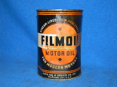 Vintage Filmoil Metal Oil Can Quart Full of Oil Unopened Cato Oklahoma City