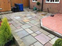 Indian Sandstone Paving Slabs (Used) 39 M2 Mixed Colours & Sizes