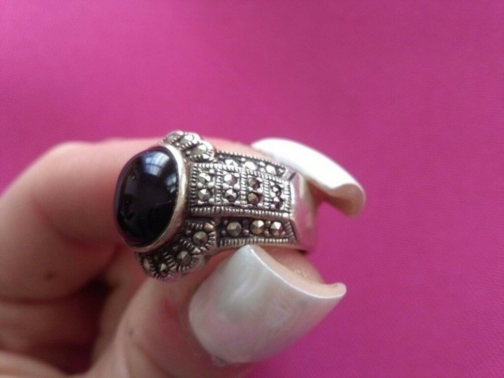Big silver ring with jewel and black zircons | in Norbury, London ...