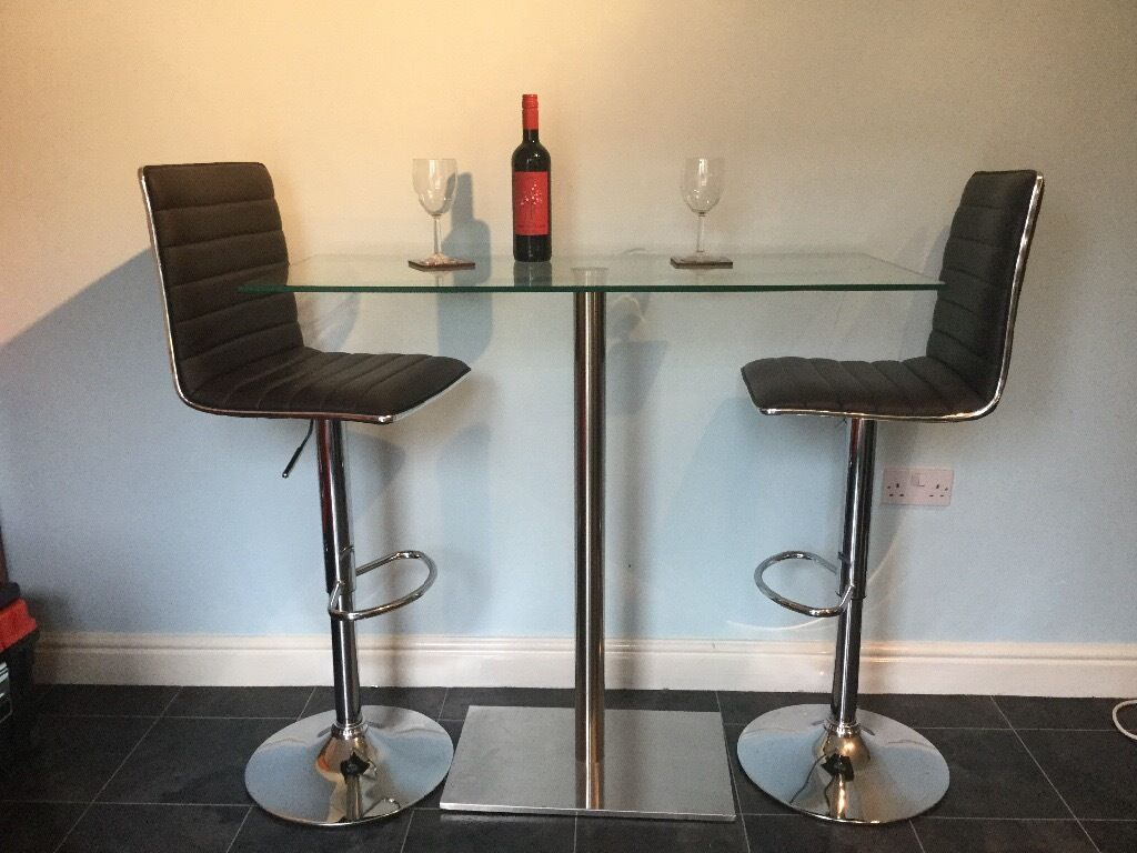 Dwell glass oblong bar table and stools