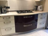 B&Q COOKE & LEWIS RAFFELLO HIGH GLOSS CREAM & AUBERGINE DRAWERS WITH SILESTONE COSENTINO WORKTOP