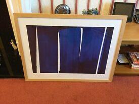 Lovely Modern signed print in wooden frame 84 cm X 64 cm approximately