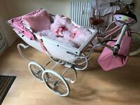 Beautiful Pink Silver Cross Dolls Pram