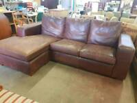 Large brown leather corner suite (corner can be switched)
