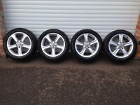 17'' GENUINE AUDI A4 B8 5 SPOKE FACELIFTED ALLOY WHEELS TYRES CONTINENTAL TYRES 5X112 A6 CADDY B7