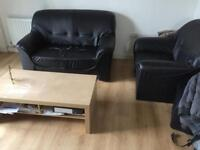 Black 2 seater sofa and chair