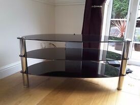 Large TV Stand Black Glass and Chrome. Excellent Quality