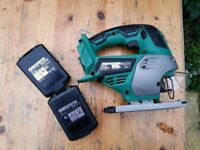 Hitachi CJ18DSL Jigsaw saw set with 2 batteries and 240v charger