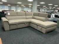 Large Corner Sofa Bed Mocha colour with footstool