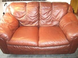 Lovely 2 seater mid brown leather sofa