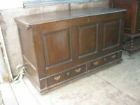 RARE ANTIQUE 'ELM' MULE CHEST. LARGE CHEST/TRUNK WITH DRAWERS AT BOTTOM.VERSATILE LOCATION.DELIVERY