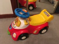 Vtech toot toot ride on car with small race car