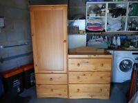 Cot Bed, Wardrobe, 3 drawer changing unit and cot top changer.