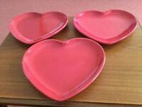 3 Lovely Heart Shaped Plates - Great for Valentine's Day