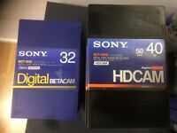 5x Sony BCT-32 Digital Betacam tapes and 7x Sony BCT-40HD HDCam tapes