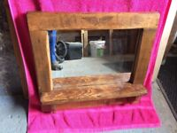 Rustic mirror with shelf
