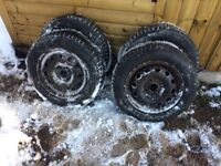 Winter tyres set of 4 on fiesta rims. Don't get stuck in the snow