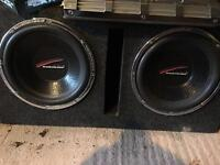 """Audiobahn AW1251T 12"""" inch old school subwoofers twin double with enclosure custom build"""