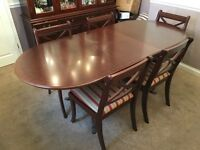Regency Mahogany Extendable Dining Table and Six Chairs