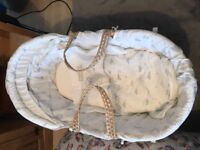 Winnie the Pooh Moses basket and white rocking stand