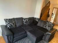 L shaped 3 seater sofa with storage footstool RRP £745