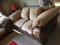 Two seater sofa leather and Fabric
