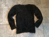 Girls 11-12 years black fluffy jumper