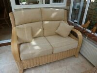 Conservatory Furniture. 2-3 Settee and Armchair. Frame is Natural Wash, Upholstery is Wheat.