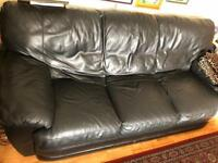 2 x Three seater leather sofa