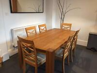 Oak dining table and 6 chairs - 1.95m x 1m