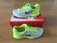 White and neon green Nike lunar glide 6 running trainers