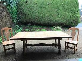 10 seater, Mexican pine dining table & 10 chairs