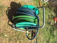 Garden Hose - free standing, 30m + sprinkler head + other attachment