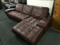 🎅 top grade brown leather corner sofa