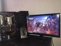 Gaming pc with monitor and mouse