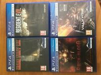 Playstation 4 VR Game Bundle (Resisdent Evil Biohazard/Here They Lie/Rush of Blood/Valkyrie (New)