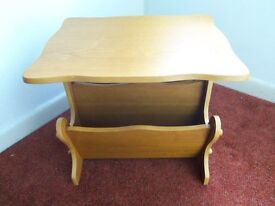 Occasional elm wood coffee table with double magazine / newspaper rack stand