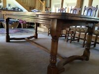 Beautiful solid oak antique 12 seater dining table and chairs
