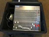 Soundcraft Spirit FX16 mixing console with padded Gator cases and PSU
