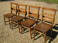 SET OF 4 OLD CHAPEL CHAIRS. Delivery poss. Also CHURCH PEWS, MORE CHAIRS , PINE TABLE & MONKS BENCH