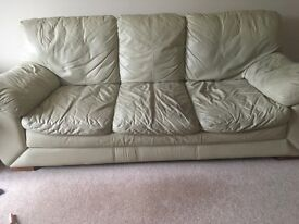 3 seater large cream sofa