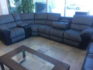 Fabric Sectional with 2 Recliners and Power Outlets
