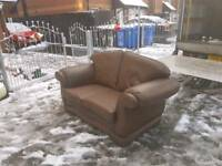 Rolled arm brown leather 2 seater sofa