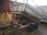 Tipper trailer 8ft by 5ft. New lighting, ram and newly boarded.