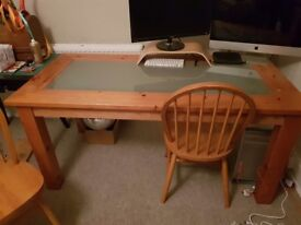 Wooden table with glass top & 4 matching chairs. Please no time wasters.