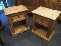 Two solid pine bedside chest of drawers