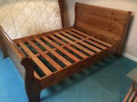Solid Wood Sleigh Double Bed