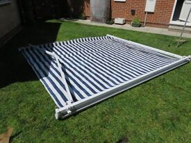 Blue & White striped house awning