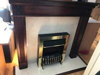 Quality Vintage Mahogany Fireplace Tiled Hearth Electric Fire Heater Coal Effect Rental Landlord
