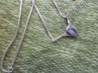 Vintage Oval Opal Necklet/Necklace Box Link Chain ~ Full Hallmarks